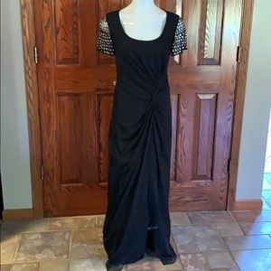 Marina long dress with rhinestone sleeves. Sz. 8
